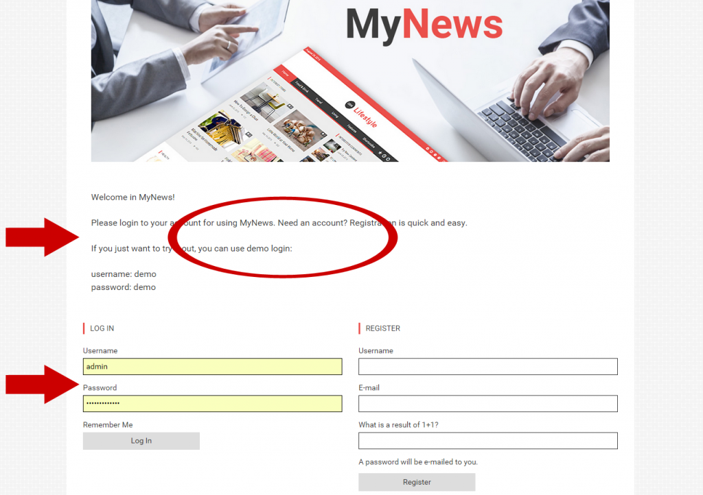 My news - login form with description