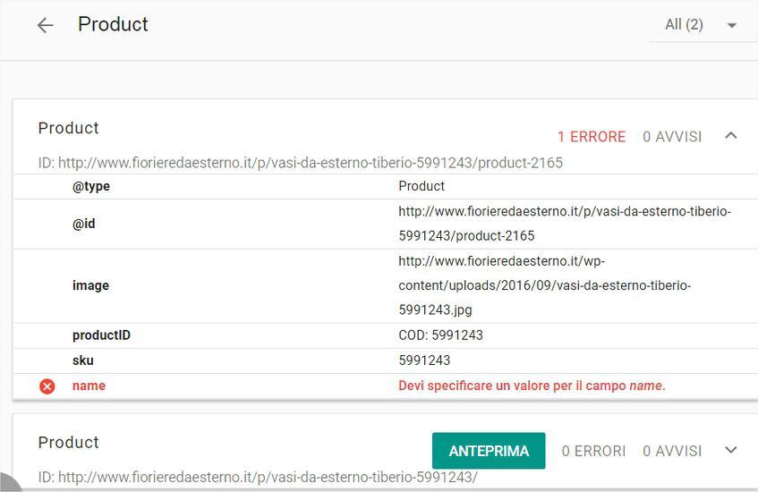 Strumento di test per i dati strutturati - Google Chrome