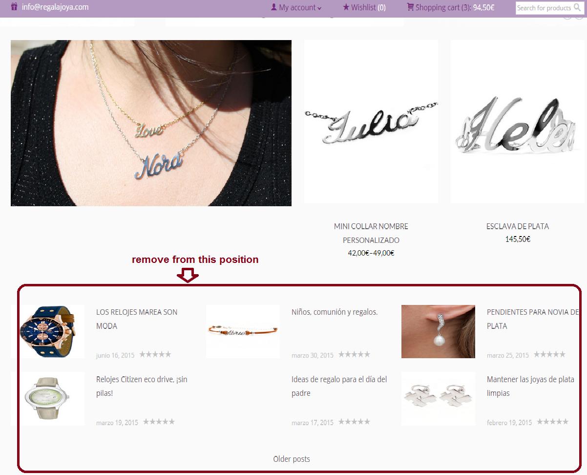 homepage eliminar blog